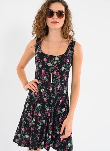 Askılı Pembe Çiçekli Kloş Elbise-Ola